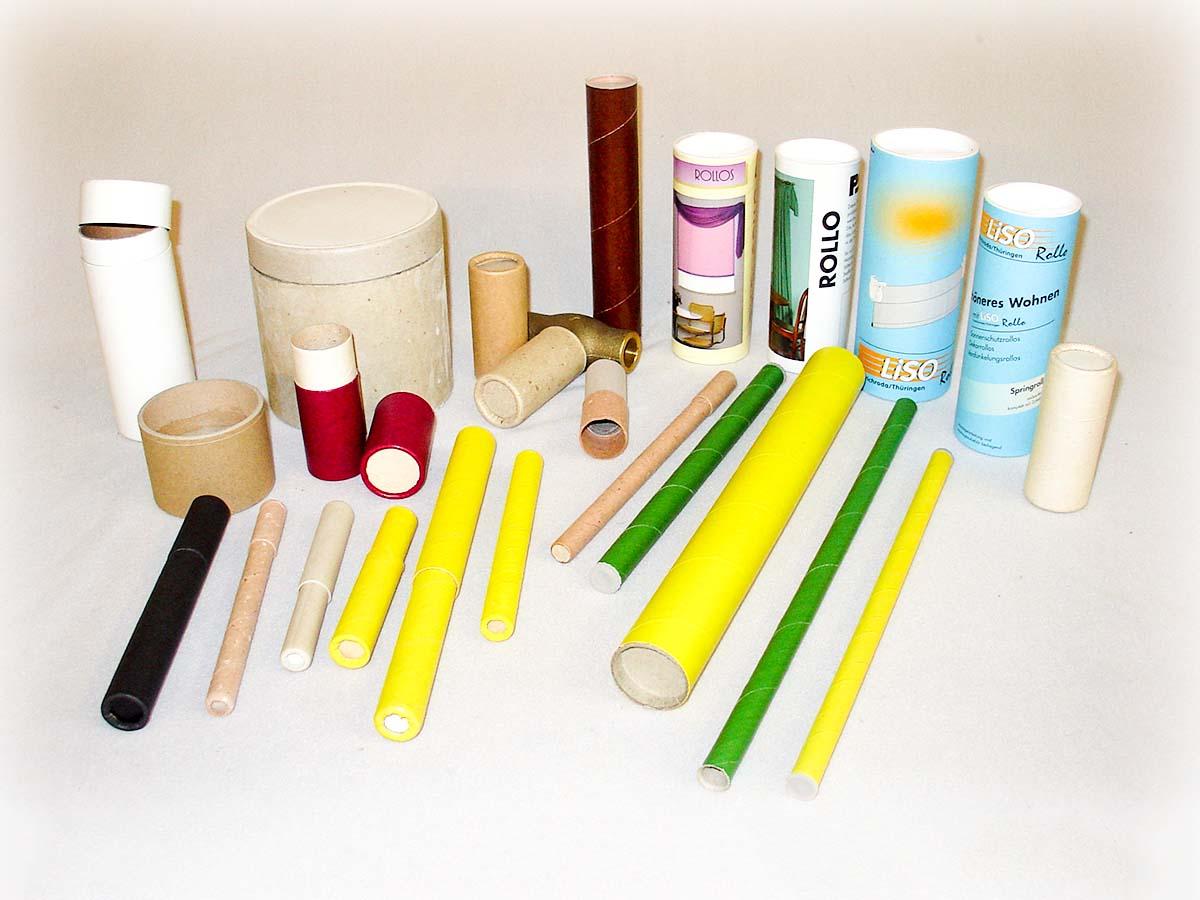 Industriehülsen in verschiedenen Formen und Farben, sowie Aufdrucken